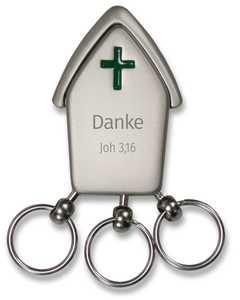 """Schlüsselanhänger """"Kirche"""" - grün"""