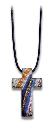 """Halskette Speckstein """"Kreuz"""" - blau"""