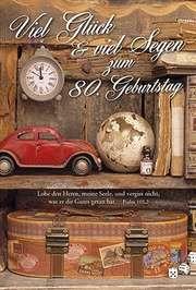 Faltkarte: Viel Glück & viel Segen zum 80. Geburtstag