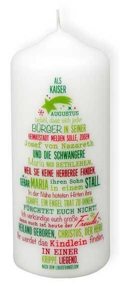 """Weihnachtskerze """"Die Weihnachtsgeschichte"""""""